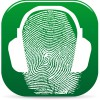 Kopfhörer auf einem Fingerabdruck